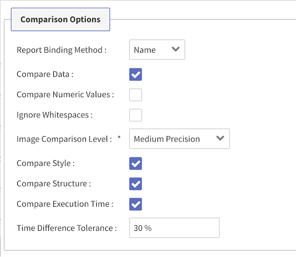 Comparison options in 360Bind