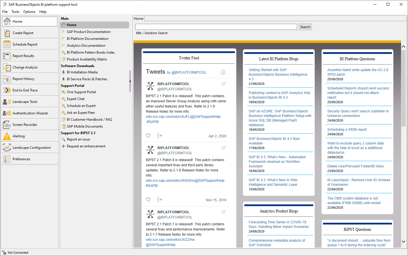 SAP BI Platform Support Tool