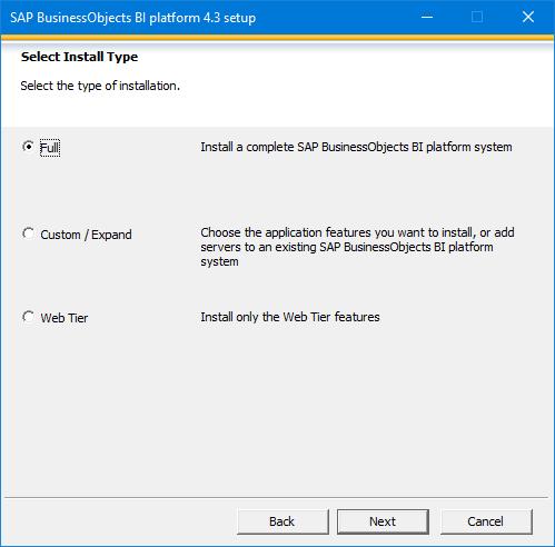 SAP BusinessObjects BI platform 4.3 Setup