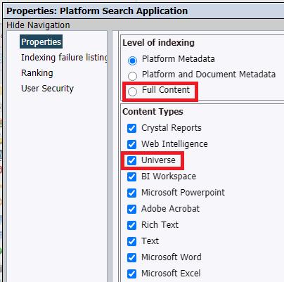 SAP BusinessObjects Platform Search Applications