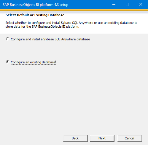 SAP BusinessObjects Setup Configure Your Database