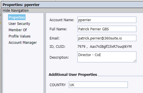 SAP BusinessObjects User Attribute