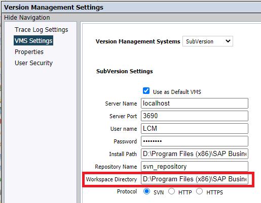 SAP BusinessObjects Version Management Settings