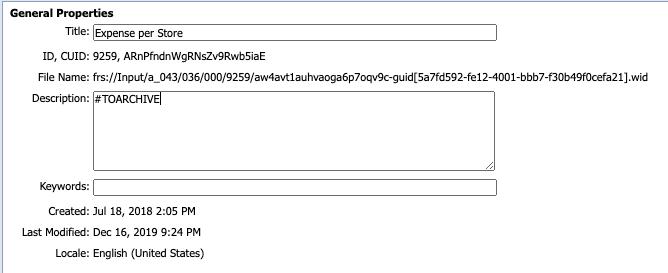 Object Description To Archive